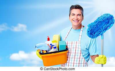 Professional cleaner man. Over blue background.