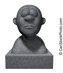 bust - funny cartoon bust - 3d illustration