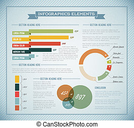 Blue Vector retro vintage set of Infographic elements - Blue...