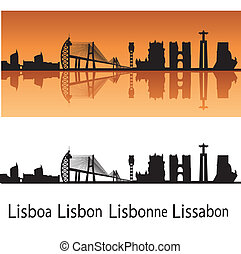 Lisbon skyline in orange background in editable vector file