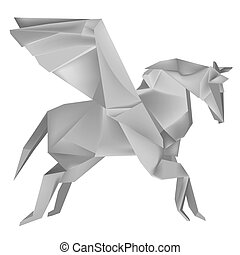 Origami_pegasus - Illustration of folded paper models of the...
