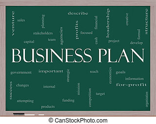 Business Plan Word Cloud Concept on a Blackboard - Business...