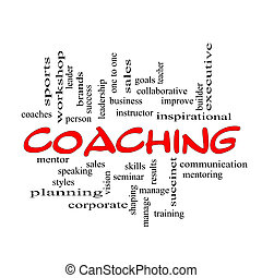 Red Caps Coaching Word Cloud Scribbled - A Coaching word...