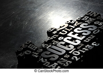 Success concept related words - Old Metallic Letters:Success...