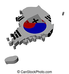South Korea map flag with ballot paper