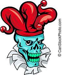 Cartoon Joker skull on torned paper for t-shirt design