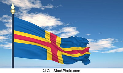Flag Of Aland islands on the background of the sky and...