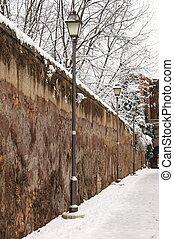 Medieval walkway in wintertime