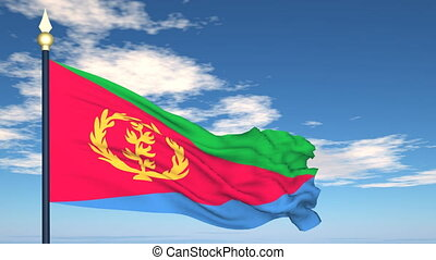 Flag Of Eritrea on the background of the sky and flying...