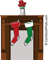 christmas stockings - stockings hung from the mantle for...