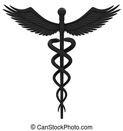 Medical caduceus symbol in black Isolated on white...