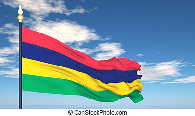 Flag Of Mauritius on the background of the sky and flying...