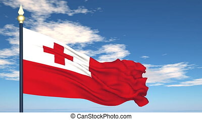 Flag Of Tonga on the background of the sky and flying clouds...