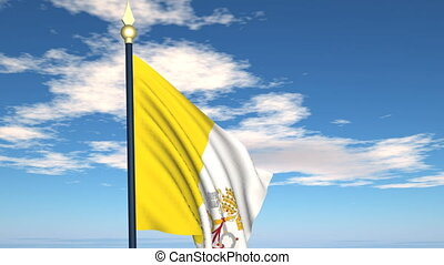 Flag Of Vatican on the background of the sky and flying...