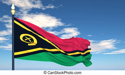 Flag Of Vanuatu on the background of the sky and flying...