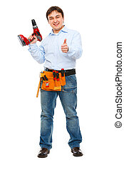 Full length portrait of construction worker with drill showing thumbs up