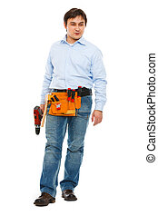 Full length portrait of construction worker looking on side