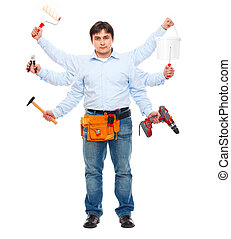 Construction worker with six hands. Do-all man concept