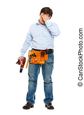 Full length portrait of concerned construction worker