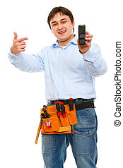 Construction worker pointing on mobile
