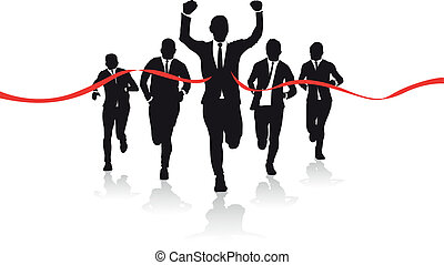 a group of business runners silhouettes
