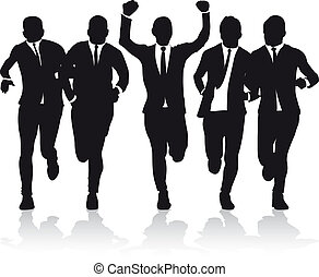 business men running silhouettes