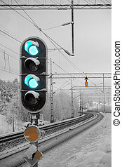 railway light signal - Traffic light shows green signal on...