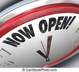Now Open Clock Announcing Grand Opening - A clock with the...