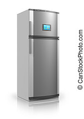 Refrigerator with touchscreen interface - Modern metallic...