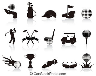 black golf icons set - isolated black golf icons set on...