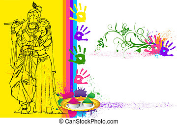 Holi Wallpaper - illustration of Radha Krishna on holi...