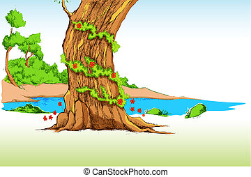 Natural Background - illustration of drawing of natural...
