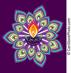 Indian Pattern - Stock Vector Illustration: Indian oil lamp...