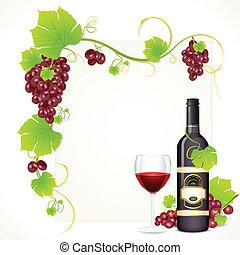 vin, bouteille, verre