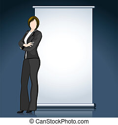 Business Lady with Bill Board - illustration of business...