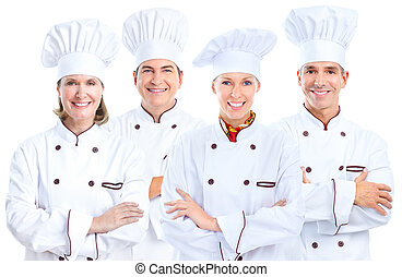 Chef baker group - Professional chef baker group Isolated...