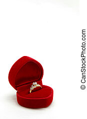 isolated female diamond ring in red valvet box