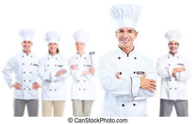 Chef baker. - Professional chef baker group. Isolated over...