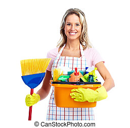 Young smiling cleaner woman Isolated over white background