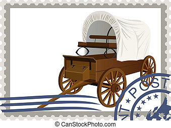 Postage stamp. Covered wagon - The illustration on a postage...