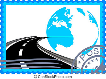 Postage stamp. Road - The illustration on a postage stamp....