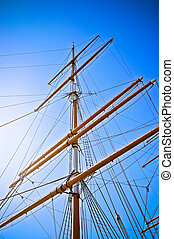 Upwards view of a ship's masts