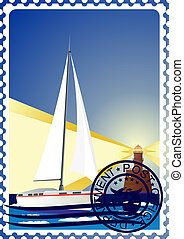 Postage stamp. Yacht at sea and the
