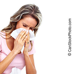 Woman having cold. - Sneezing Woman having cold. Isolated on...