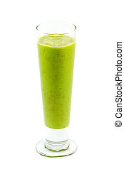Juice in a Glass Isolated on White Background - Fresh...