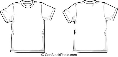 T-shirt - White T-shirt - back and front, round-neck