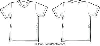 T-shirt V-neck - White T-shirt - back and front, V-neck