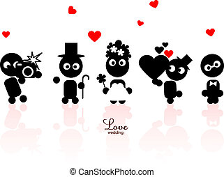 Doodle people icons - Black funny people icons, wedding...