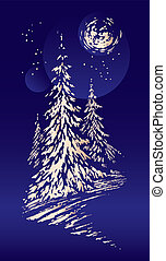Winter scenery Christmas card