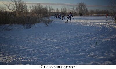 Skiers racing (Close-up)  - People racing. Cross-country.